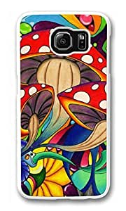 Galaxy S6 Case, S6 Case, Personalized Shock Absorption Bumper Case PC White Protective Cover for New Samsung Galaxy S6 Colorful Mushroom
