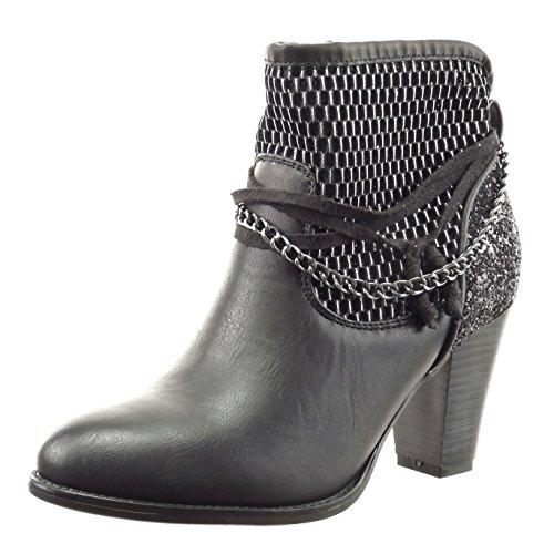 Sopily - Scarpe da Moda Stivaletti - Scarponcini alla caviglia donna fishnet catena corda paillette Tacco a blocco tacco alto 8 CM - Nero