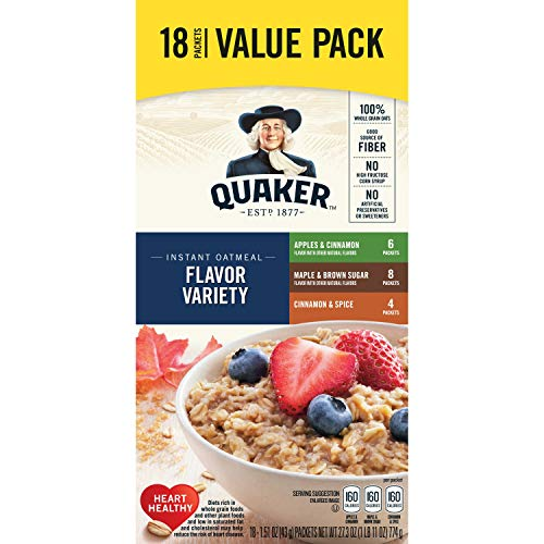 (Quaker Instant Oatmeal, Variety Value Pack, 18 Count)