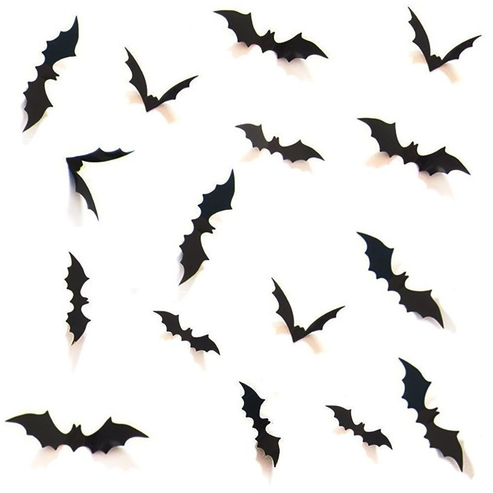 Halloween Decoration for Indoor and Outdoor, Sticky Bats/Spiders with Spider Web for Parties and Spooky Events … (Bats Decoration)