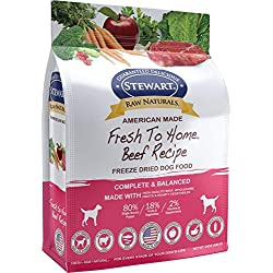 Stewart Raw Naturals Freeze Dried Dog Food Grain Free Made in USA with Beef, Fruits, & Vegetables for Fresh To Home All Natural Recipe, 24 oz.