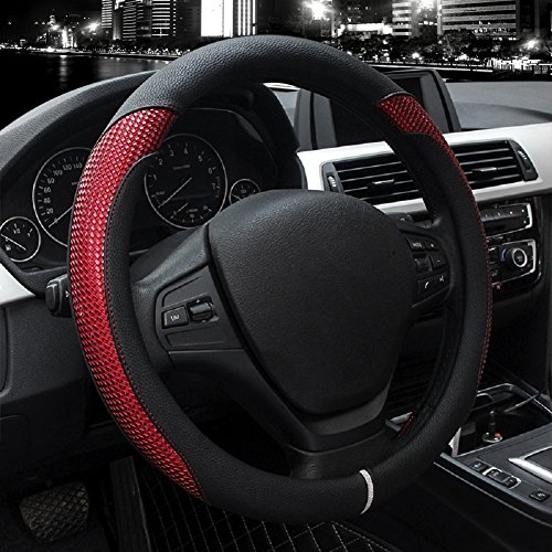 Valleycomfy Car Steering Wheel Cover - Genuine Leather, Universal 15 Inch- Breathable, Anti Slip & Odor Free (Style2-Red)