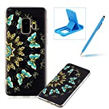 Soft TPU Case for Samsung Galaxy S9,Shock-Absorbing Rubber Case for Samsung Galaxy S9,Herzzer Stylish Slim Fit Blue Butterflies Pattern Shockproof Scratch Resist Flexible Silicone Back Cover