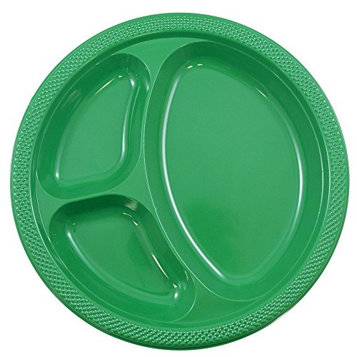 (JAM PAPER Plastic 3 Compartment Divided Plates - Large - 10 1/4 inch - Green - 20/Pack)