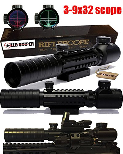 Ledsniper®3-9x32 Eg Riflescope Red&green Illuminated Rangefinder Reticle Shotgun Air Hunting Rifle Scope,(12 Month Warranty)