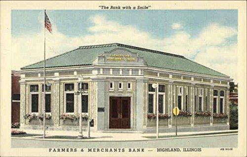 Farmers & Merchants Bank Highland, Illinois Original Vintage Postcard