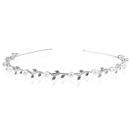 LEORX - Cerchietto per capelli Clip Tiara da sposa con perla e strass ae9e52eef1ff