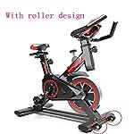 LSYOA-Indoor-Cycling-Cyclette-Spin-Bike-stazionario-con-Volano-Cinghia-Supporto-Tablet-Supporto-Smartphone-Comodo-SellaBlack-Red