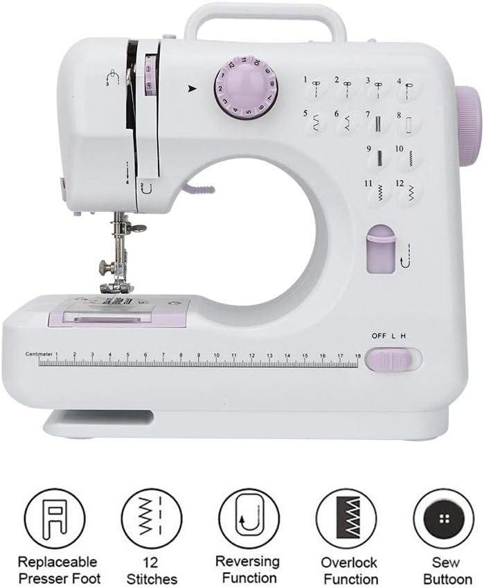 Enchufe de la UE Mini m/áquina de coser funci/ón de bobinado autom/ático una l/ámpara de coser m/áquina de coser el/éctrica a medida para el hogar con 12 puntadas florales