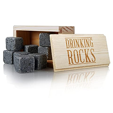 Whiskey Stones - Chills Your Drink Without Dilution - Reusable Granite Chilling Rocks - Perfect For Liquor, Wine and Other Beverages - Premium Bar Accessories - Set of 8 Cubes in Presentation Box.