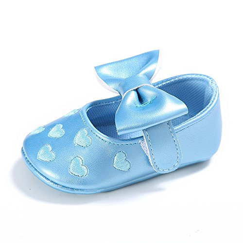 L'enfant Baby Girls Mary Jane Shoes Bowknot Crib Shoes Sneakers Blue US 5