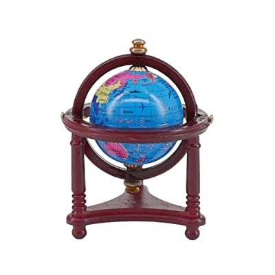 SUPVOX 1:12 Mini World Globe Vintage Decorative Desktop Globe Spinning Globe for Kids Dollhouse Ornament Kids Toys Gift: Home & Kitchen