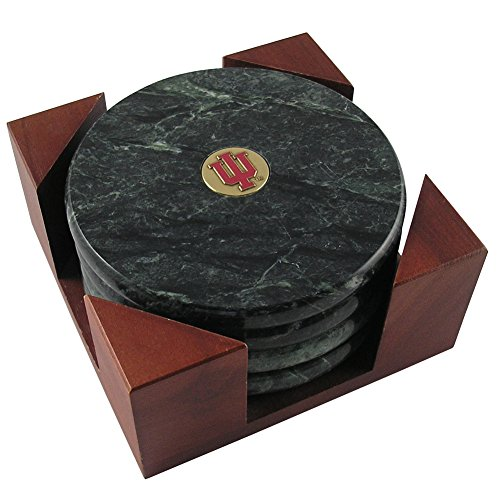 Indiana University Block IU Brass Emblem Marble Fab Coaster Set IUMBS422A Set of 4 (Coaster Set Metal Case)