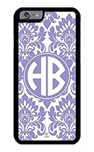 iPhone 6 Case Monogram Personalized Violet Tulip Pattern RUBBER CASE - Fits iPhone 6 T-Mobile, AT&T, Sprint, Verizon and International (Black)
