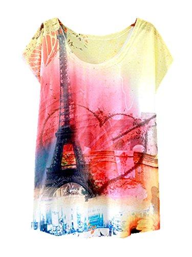 Tees Girls Women Tops YICHUN Leisure Shirt Tunic Printed Wear Blouse Casual T Shirt Cami 8 Fashion Trendy Thin 8Bw5wdFqn