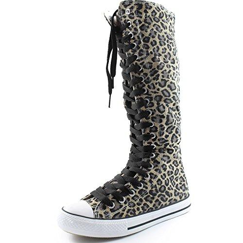 Dailyshoes Damesschoen Mid Kalf Lange Laarzen Casual Sneaker Punk Flat, Klassieke Zwarte Luipaardlaarzen, Klassiek Zwart Kant