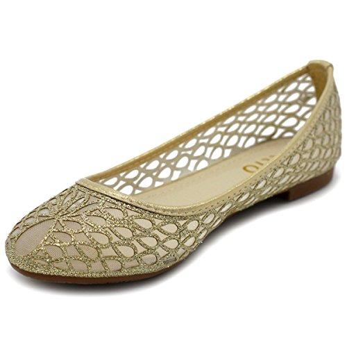 Ollio Damesschoen Mesh Glitter Comfort Ballet Flat Style2-gold