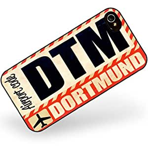 Rubber Case for iphone 4 4s Airportcode DTM Dortmund - Neonblond