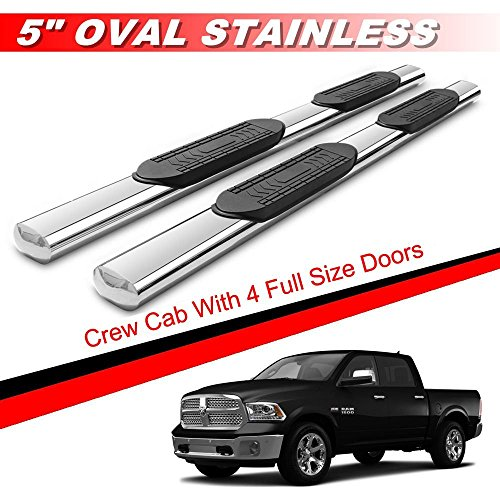 X Parts 5 Stainless Oval Running Boards Nerf Bars For 2009 2018 Dodge Ram 1500 Crew Cab 4 Full Doors 2010 2018 Dodge Ram 2500 3500 Crew Cab 4 Full Doors Only