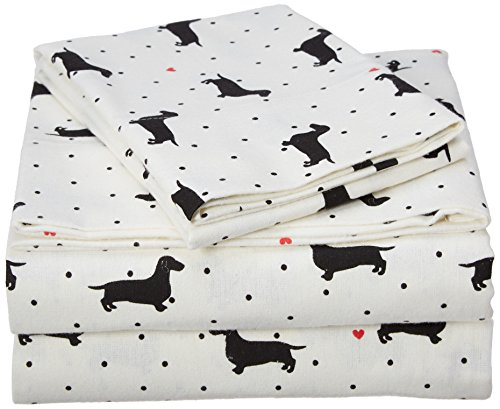 JLA Home INC Cozy Flannel Twin XL Bed Sheets, Casual Black Dogs Bed Sheet, Bed Sheet Set 3-Piece Include Flat Sheet, Fitted Sheet & Pillowcase
