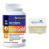 Enzymedica – Lypo Gold, Enzymes for Optimal Fat Digestion, 120 Capsules Bundle with Lumintrail Pill Case For Sale