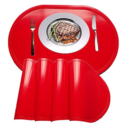Placemat,WANGCHAO Plastic molding Faux Leather pvc place mats Oval Smooth placemats Non-slip Insulation Washable Table Mats (red, set of 4)