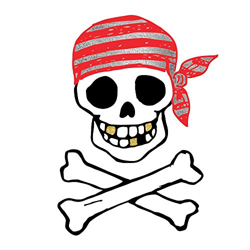 Pirate Skull and Crossbones set of 25 premium waterproof metallic colorful temporary jewelry foil pirate Flash Tattoos - Party Favors, Party Supplies, Halloween, skull, pirate skull -