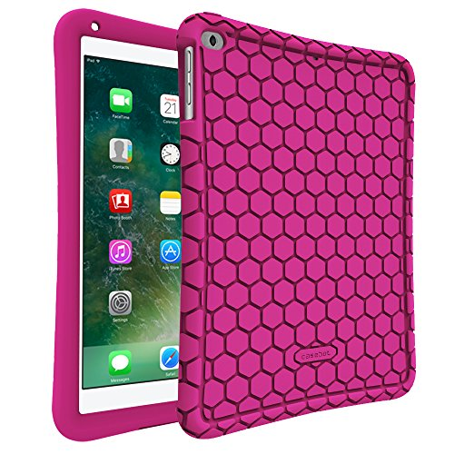 Fintie iPad 9.7 2018 2017 / iPad Air 2 / iPad Air Case - [Honey Comb Series] Light Weight Anti Slip Kids Friendly Shock Proof Silicone Protective Cover for iPad 6th / 5th Gen, iPad Air 1 2, Magenta