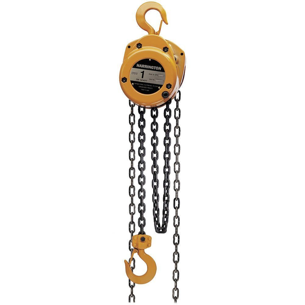 Harrington CF Series Die-Cast Aluminum Body Hand Chain Hoist, 3 Ton Capacity, 15' Lift Height, 13.5' Hand Chain Drop, 23.2'' Headroom by Harrington (Image #1)