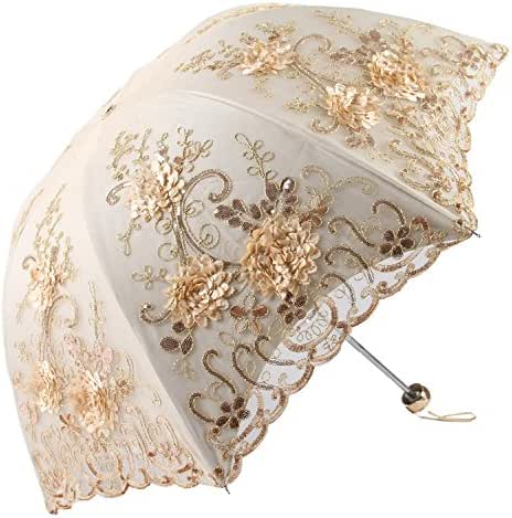 Honeystore Vintage Lace UV Sun Parasol Folding 3D Flower Embroidery Umbrella H1620 Yellow