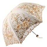 Honeystore Vintage Lace UV Sun Parasol Folding 3D Flower Embroidery Umbrella H1620 Yellow