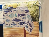 Spring Summer Themed Flannel Backed Vinyl Tablecloth Multi Fish 60 in x 84 in