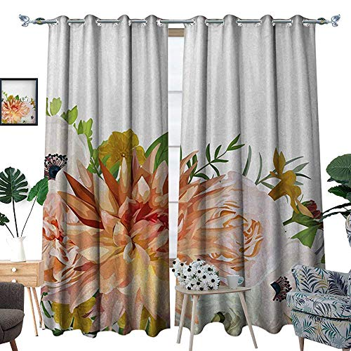 (RenteriaDecor Anemone Flower Blackout Window Curtain Garden Rose Dahlia Forest Meadow Bedding Plants Leaves Mix Customized Curtains W84 x L108 Salmon Fern Green Khaki)