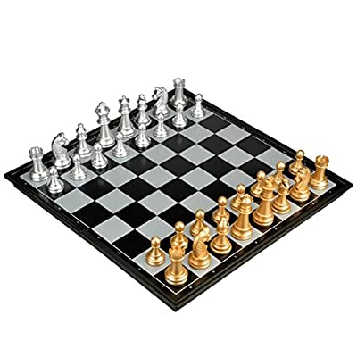 "Metal Magnetic Travel Chess Set with Felted Game Board Interior for Storage 9.8"" W3158"