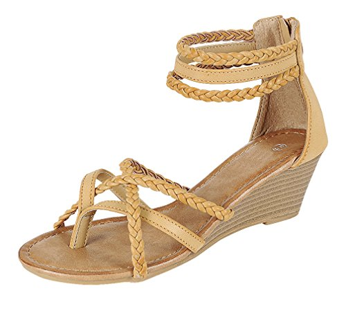 Braided Strappy Sandal (Cambridge Select Women's Open Toe Crisscross Braided Ankle Strappy Thong Wedge Sandal (9 B(M) US, Taupe))