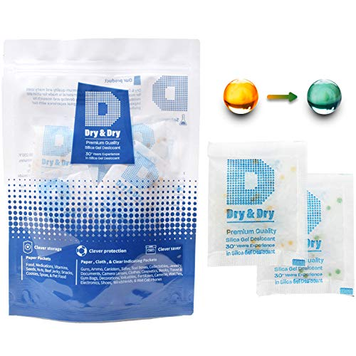 Dry & Dry 10 Gram [50 Packs] Food Safe Orange Indicating(Orange to Dark Green) Mixed Silica Gel Packets - FDA Compliant(Rechargeable) Silica Packets for Moisture