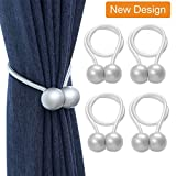 curtain tie back ideas  Magnetic Curtain Rope Tiebacks, Classic European Window Curtain Holders with Magnets for Blackout Curtain, Sheer Panels Draperies (Gray, 4 Pack)