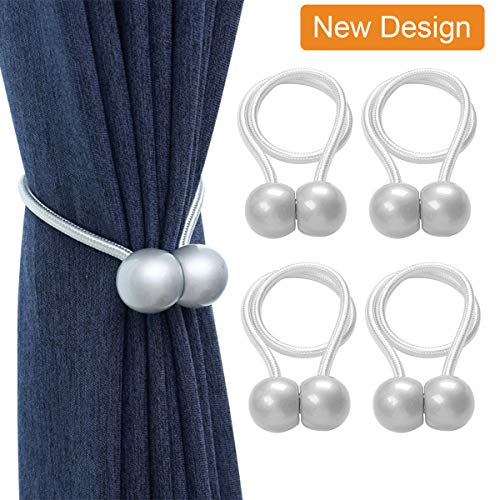 Magnetic Curtain Rope Tiebacks, Classic European Window Curtain Holders with Magnets for Blackout Curtain, Sheer Panels Draperies (Gray, 4 Pack)