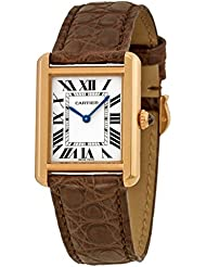Cartier Tank Solo Small Model Pink Gold and Steel Leather Ref W5200024