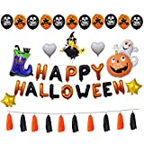 Raleighsee Pumpkin Ghost Happy Halloween Aluminum Balloon Set Halloween Party Decoration