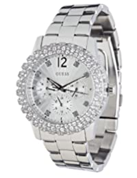 GUESS Women's U0335L1 Silver-Tone Multi-Function Watch with Genuine Crystal Accents