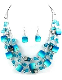 Urban Chic Mixed Blue Shell Wire Multi-Strand Necklace Earrings Set Uniklook jewelry