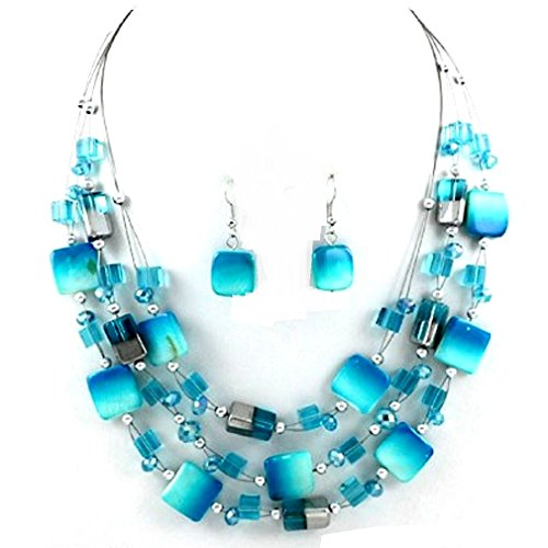 Urban Chic Mixed Blue Shell Wire Multi-Strand Necklace Earrings Set Uniklook - Wire Necklace Multi
