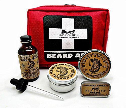 Barbe de trousse de premiers soins - par honnête Amish - cadeau pour l'homme barbu qui a tout - huile, baume, cire