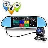 "CUagain C08 3G Car Camera 7"" Android 5.0 GPS DVR Car Video Recorder Bluetooth WIFI Dual Lens Rearview Mirror Dash cam Car Driving Recorder"