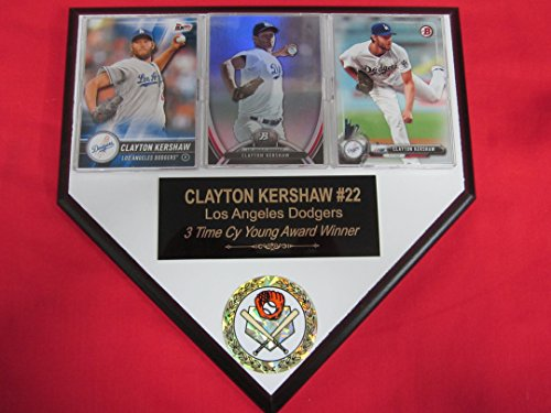 J & C Baseball Clubhouse Clayton Kershaw Dodgers 3 Card Collector Home Plate Plaque to Amazon! (Clayton Kershaw Plaque)