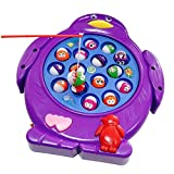 Jerryvon Musical Electronic Fishing Rod Board Game Penguin Shaped Play Set with Music Rotating Board Educational Learning Pretend Toy for Kids Boys Girls 3 4 5 Years Old, Color Vary, Pack of 1