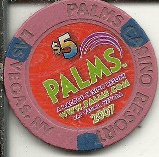 - $5 palms www.palms.com obsolete las vegas casino chip