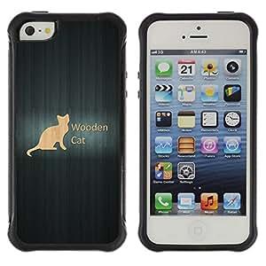 LASTONE PHONE CASE / Suave Silicona Caso Carcasa de Caucho Funda para Apple Iphone 5 / 5S / Wooden Cat