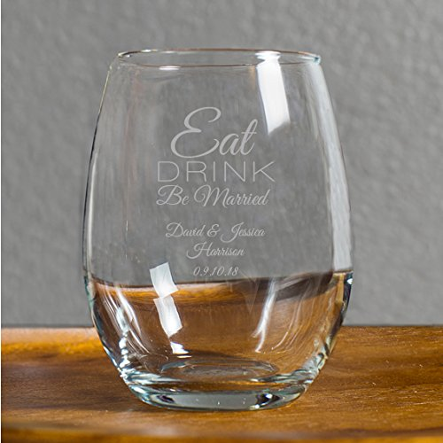 Eat Drink Be Married 9 Ounce Glass, Customized Stemless Wine Glasses, Wedding Favor, Bachelorette Gift Bridal Shower Favors, Case of 48 by customgift